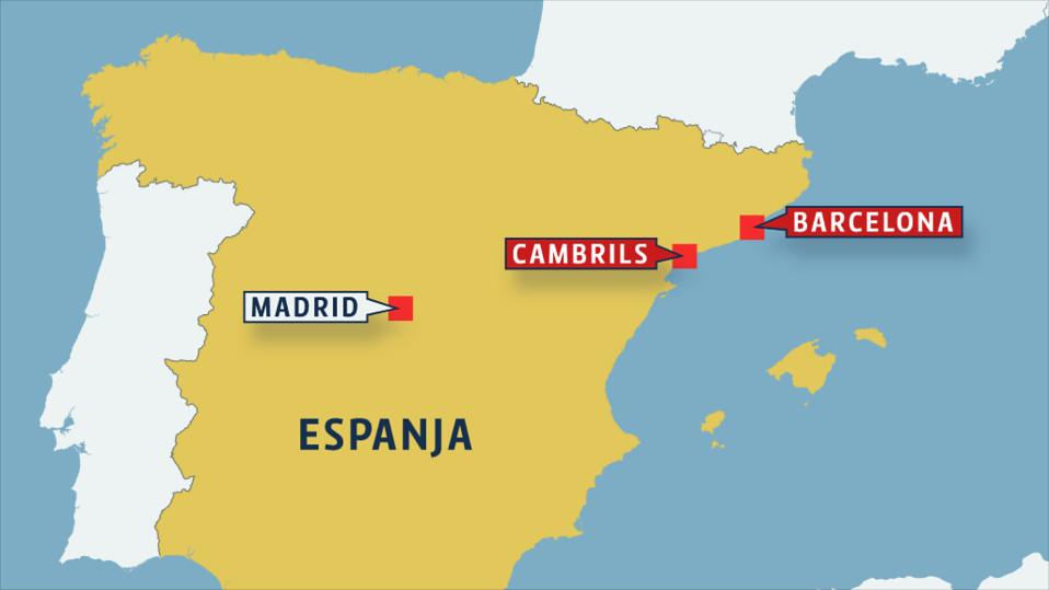 espanjan kartta, jossa Barcelona ja Cambrils