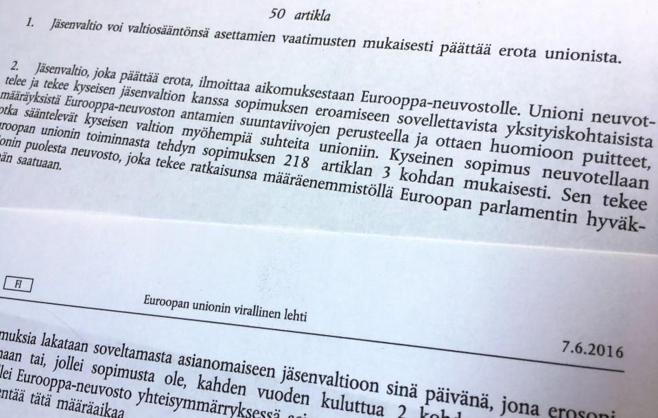 Artikla 50 määrää EU:sta eroamisen menettelyn.