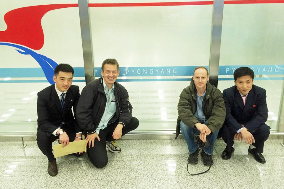 Pjongjangin lentokentällä.