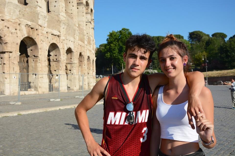 Italialaiset turistit Massimo ja Arianna Roomassa 20. kesäkuuta 2017.