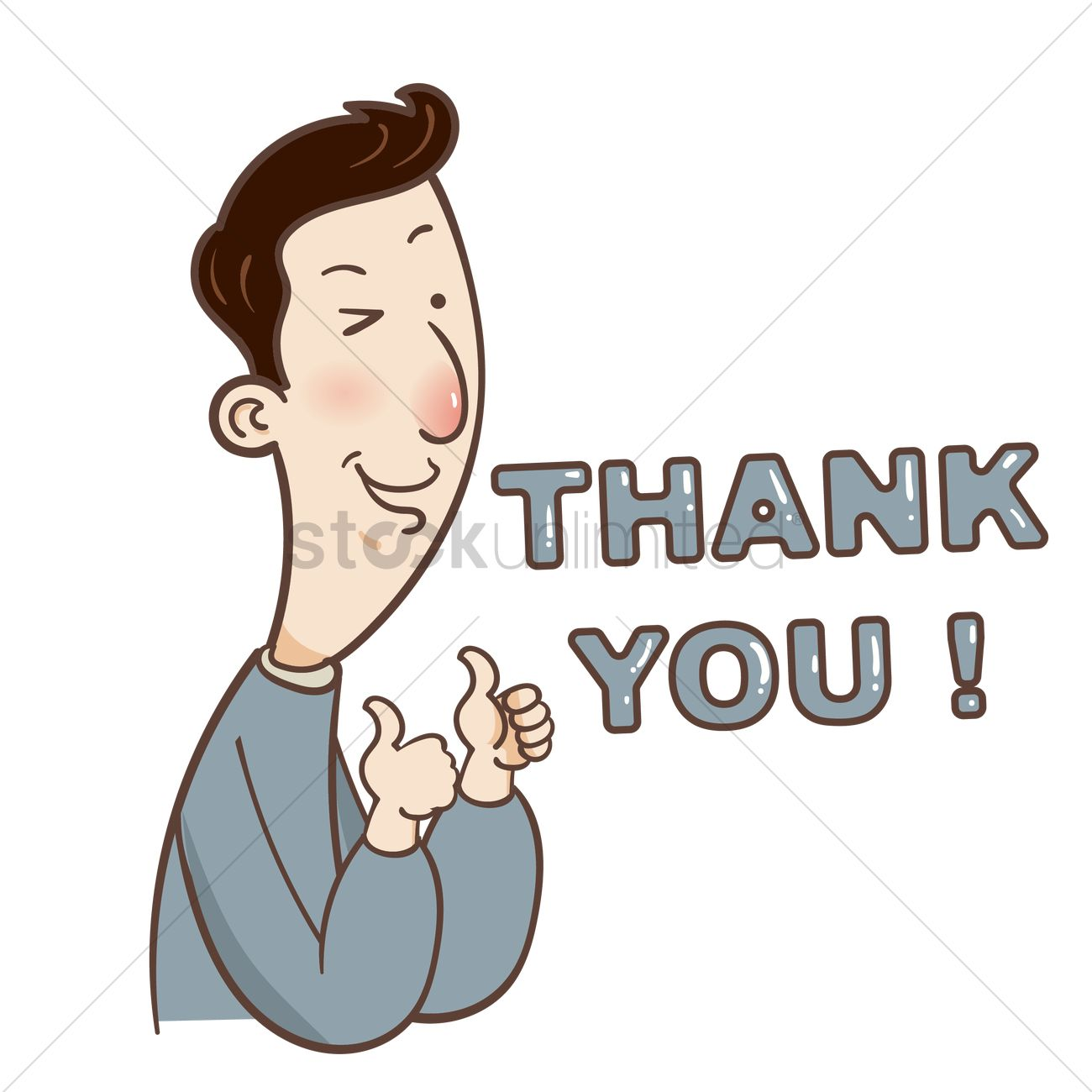 Cartoon Guy Saying Thank You Vector Image