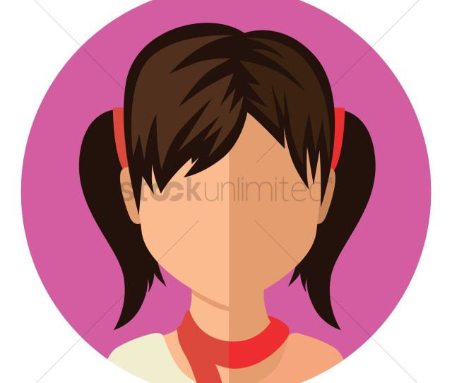 Girl With Hair Tied Up Vector Graphic