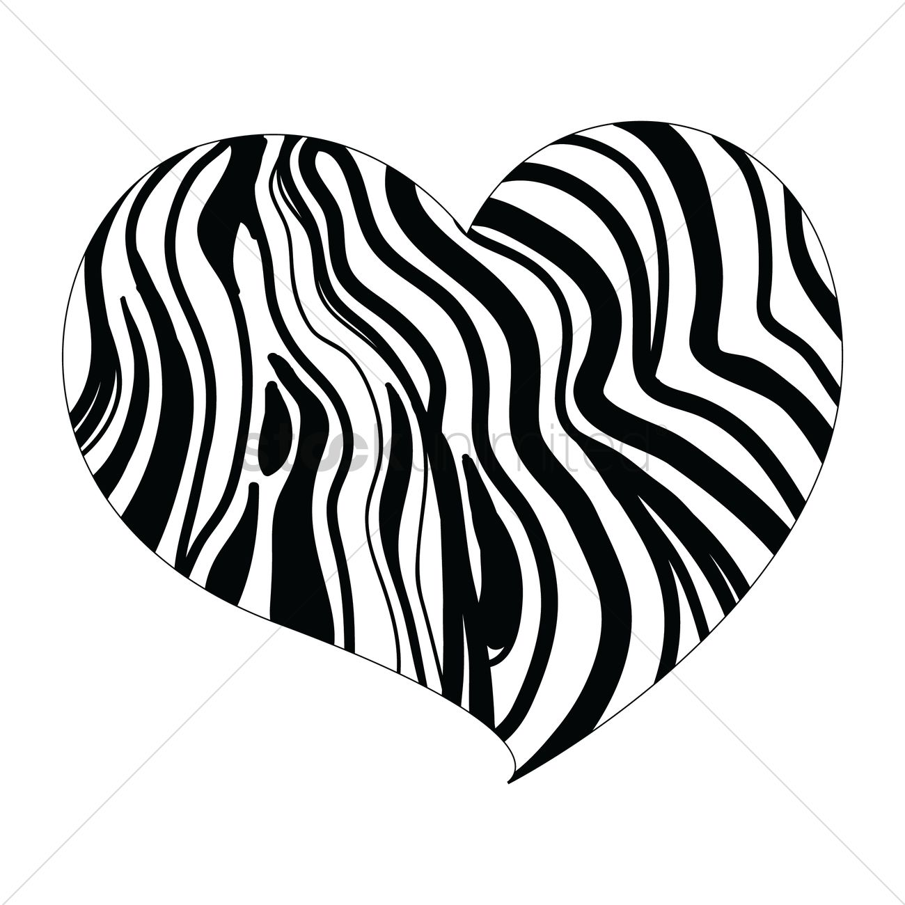 Heart Design With Zebra Print Vector Image