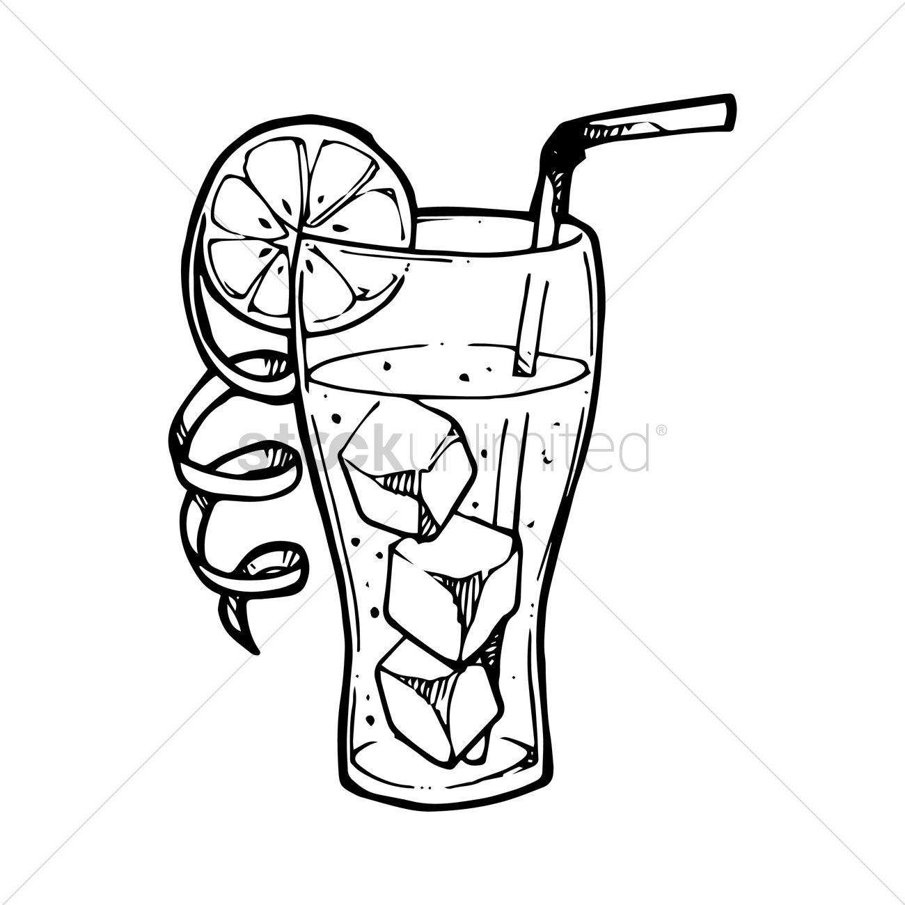 Iced Drink With Fruit Slice Vector Image