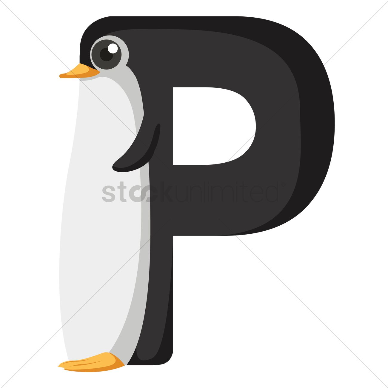 Letter P For Penguin Vector Image