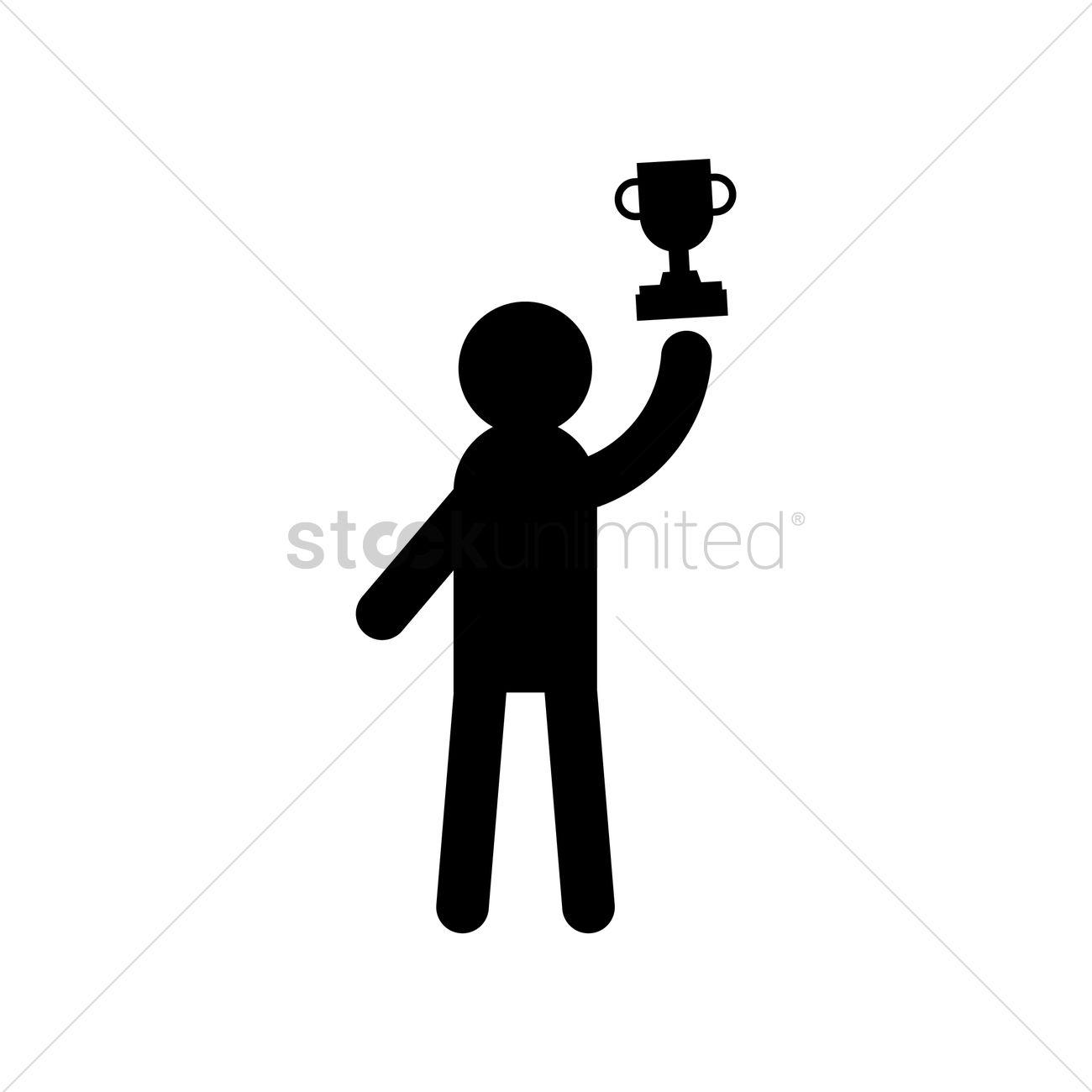 Man Holding Trophy Vector Image