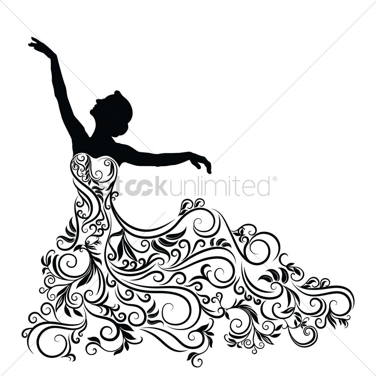 Silhouette Of Woman In An Elegent Dress Vector Image