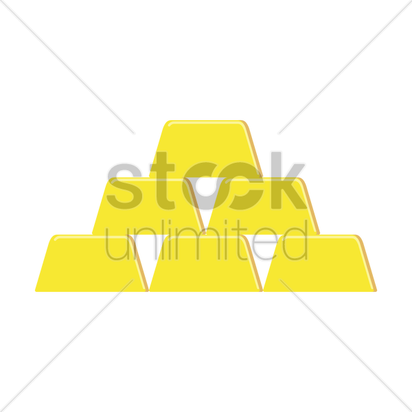 Stack Of Gold Bricks Vector Image 1308724 Stockunlimited