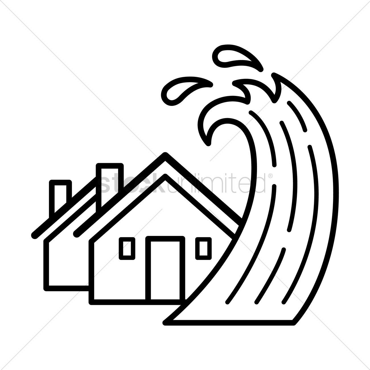 House With Tsunami Concept Vector Image