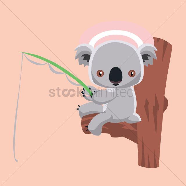 Free Koala Bear Fishing Vector Graphic