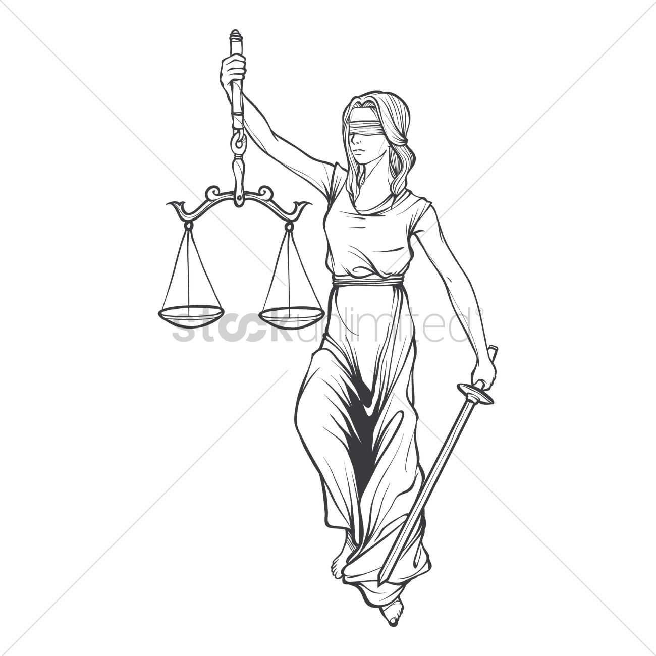 Lady Justice Statue Vector Image