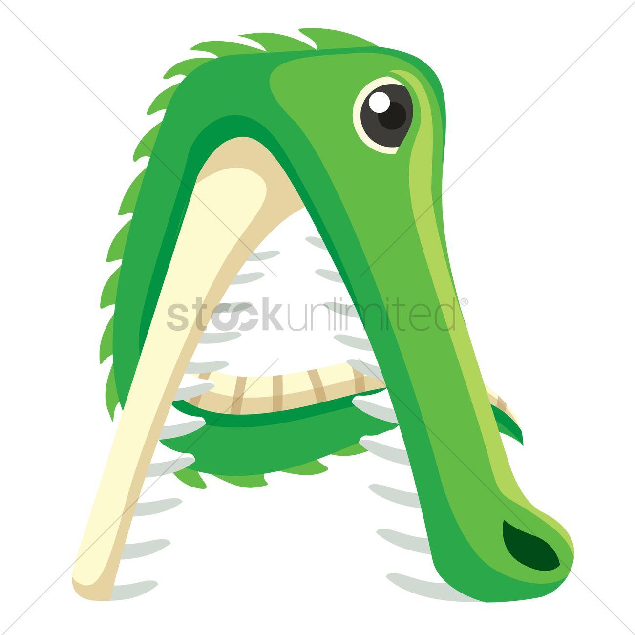 Letter A For Alligator Vector Image