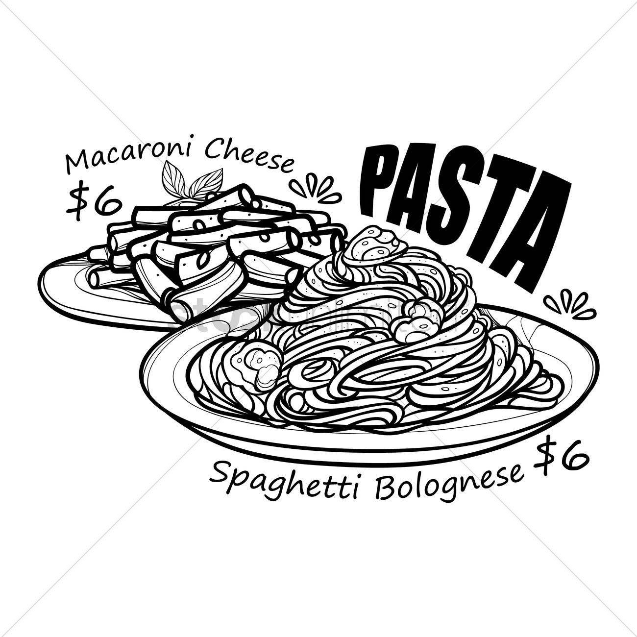 Pasta Menu Title With Price Vector Image