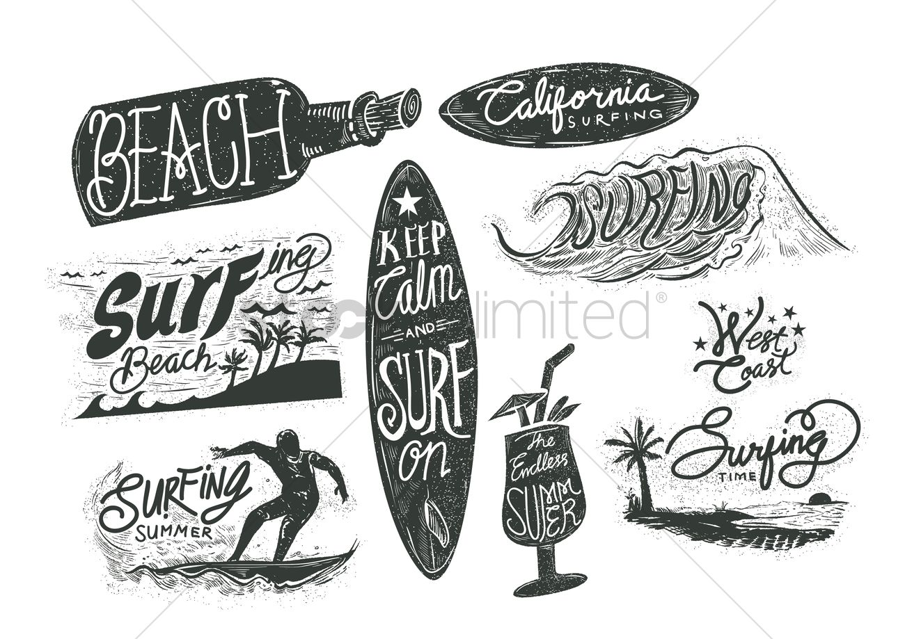 Set Of Surfing Beach Typographies Vector Image