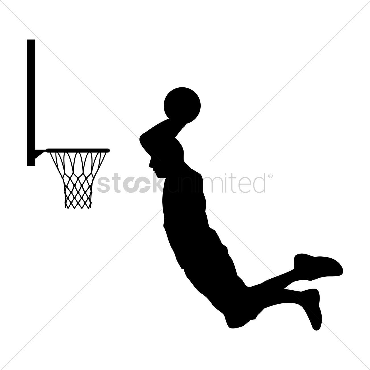 Basketball Player Putting Ball Into The Basket Vector