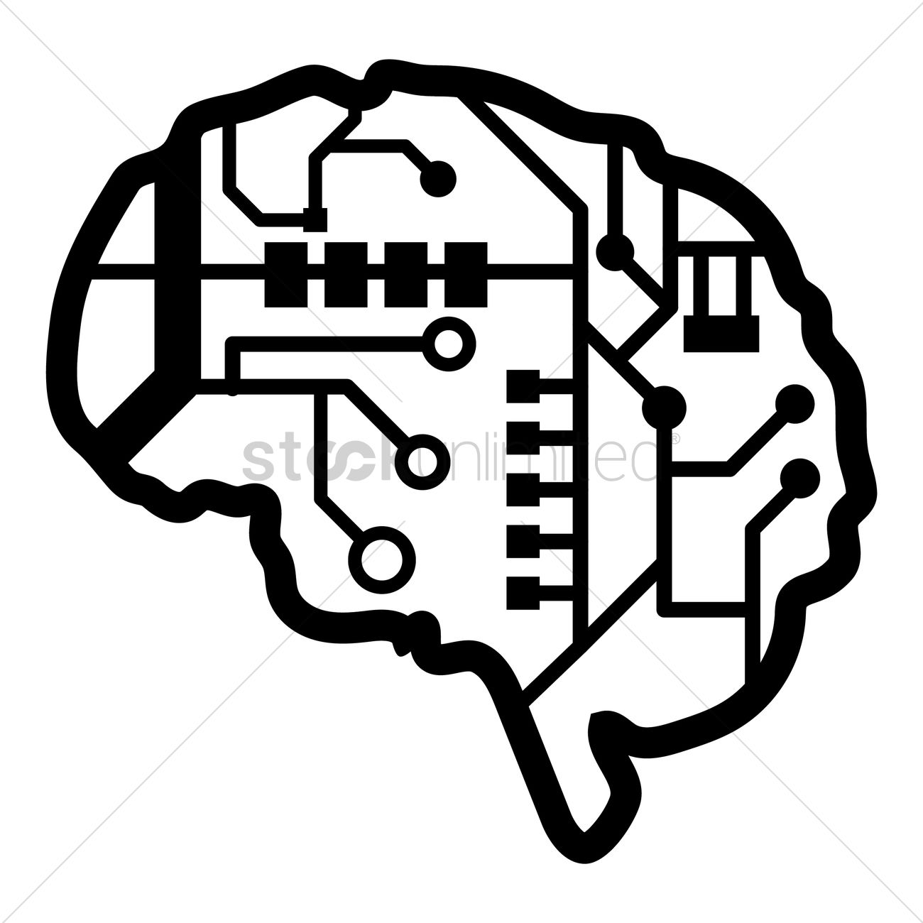 Brain Shape Circuit Vector Image