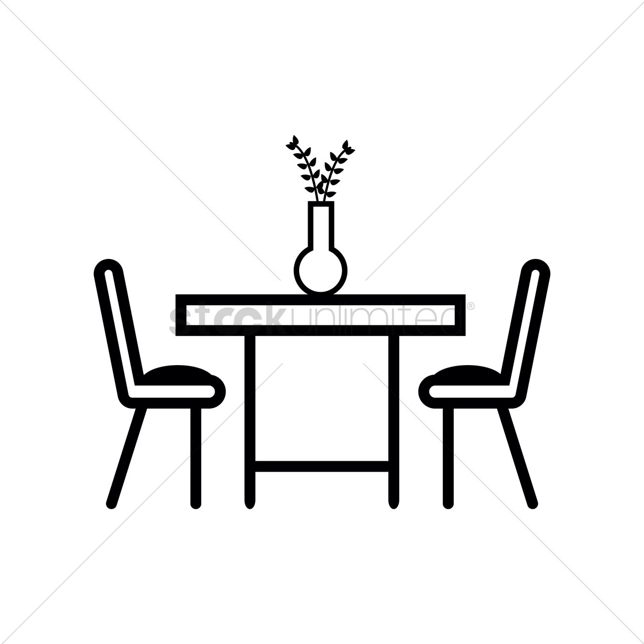 Dining Table With Two Chairs Vector Image