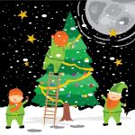 Elves Decorating Tree Vector Image 1391025 Stockunlimited