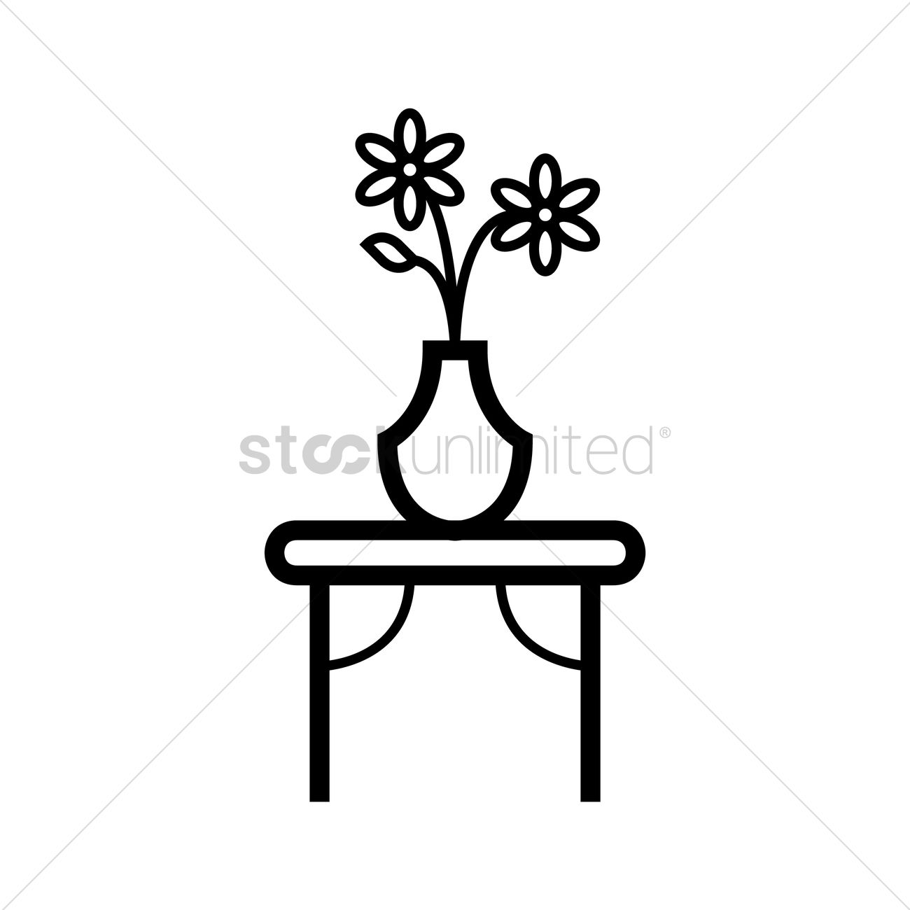 Table With Flower Vase Vector Image