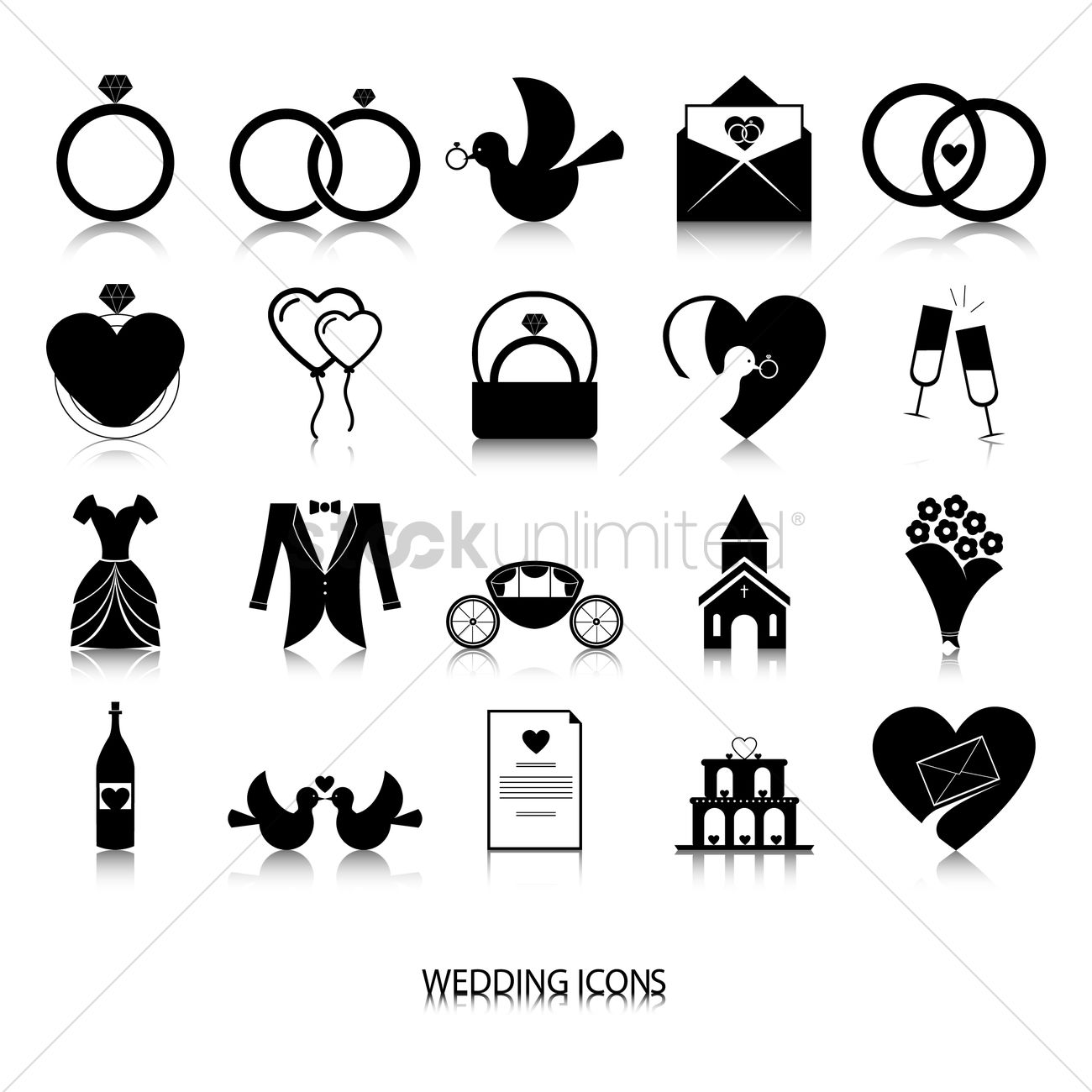 Collection Of Wedding Icons Vector Image