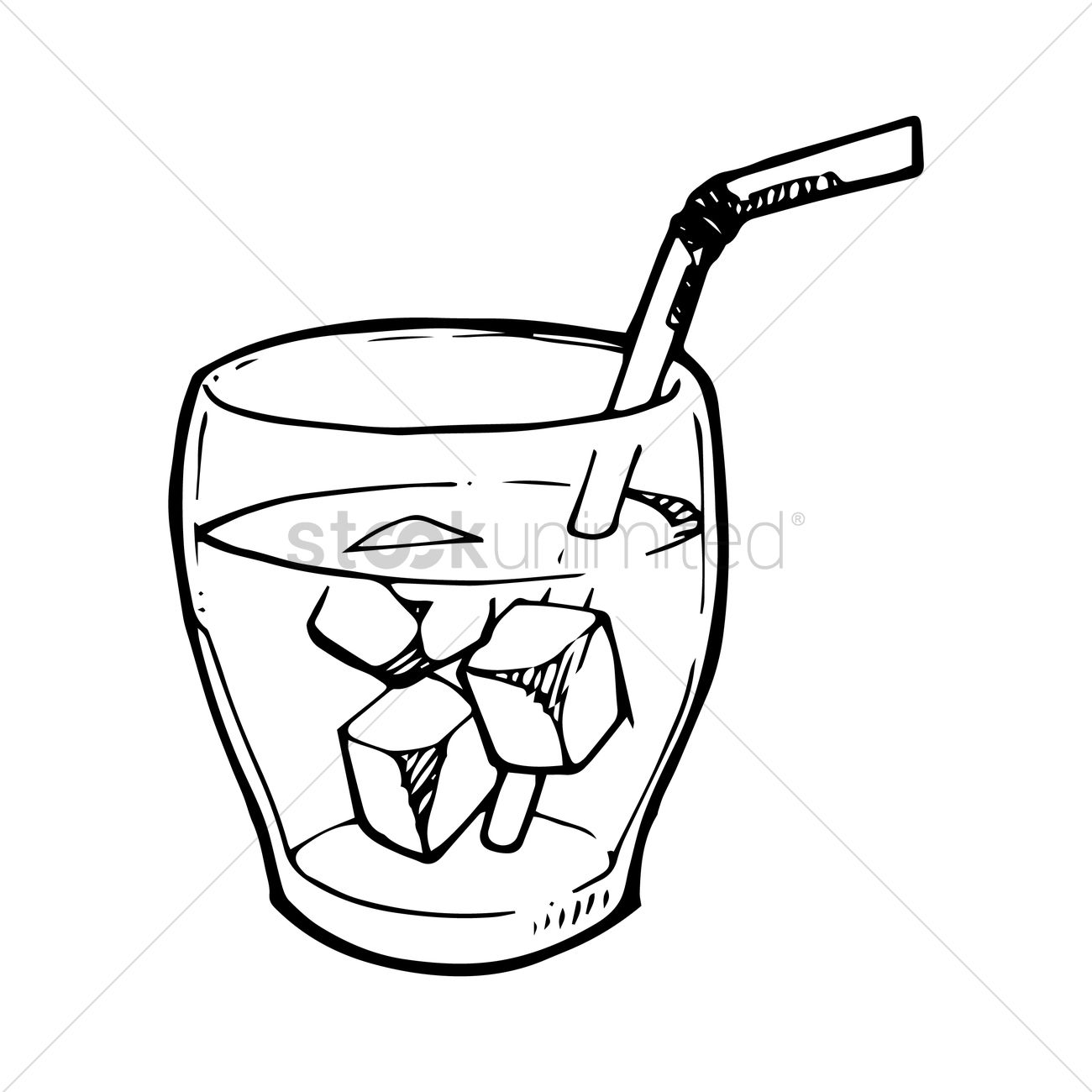 Iced Drink With Straw Vector Image
