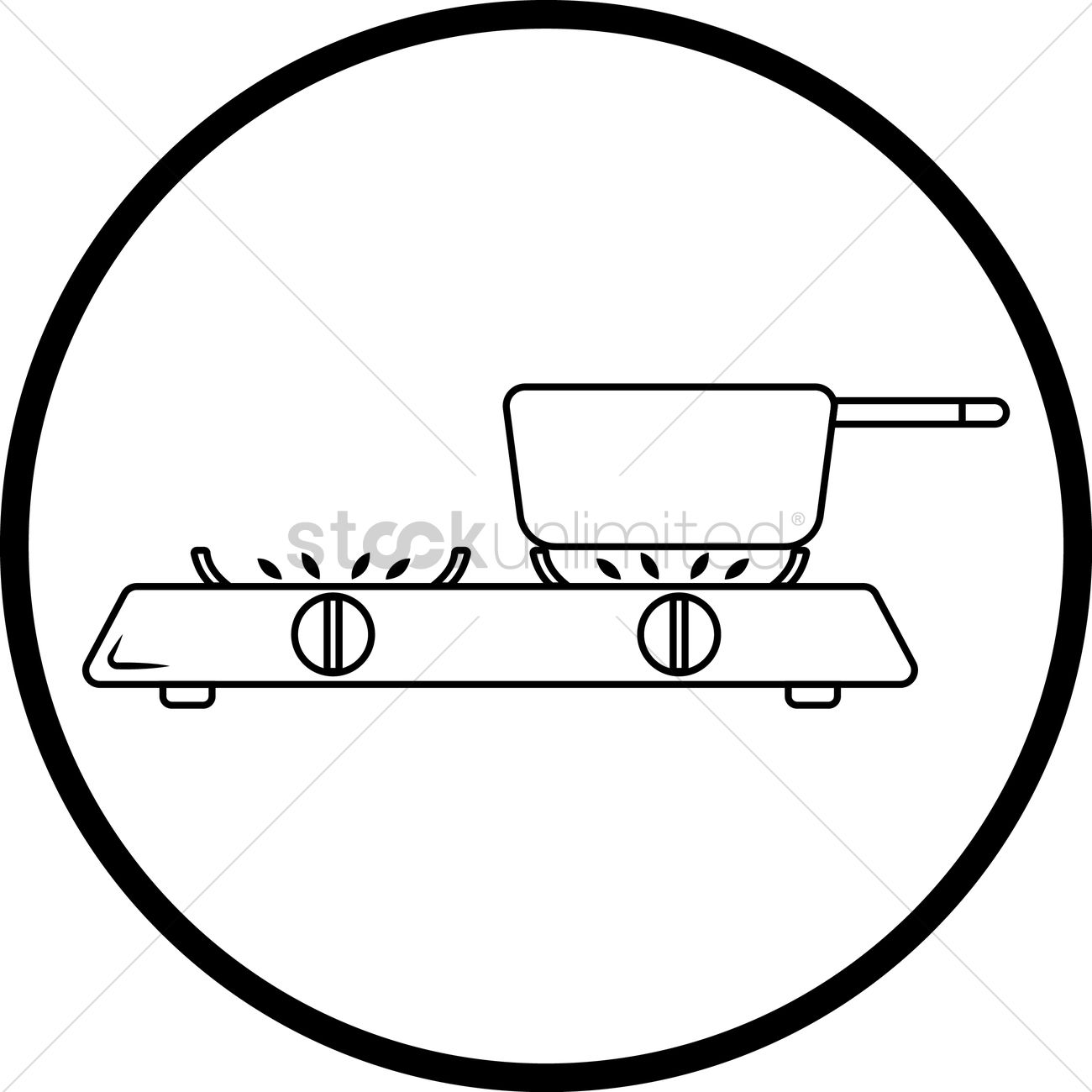 Pot On Stove Vector Image