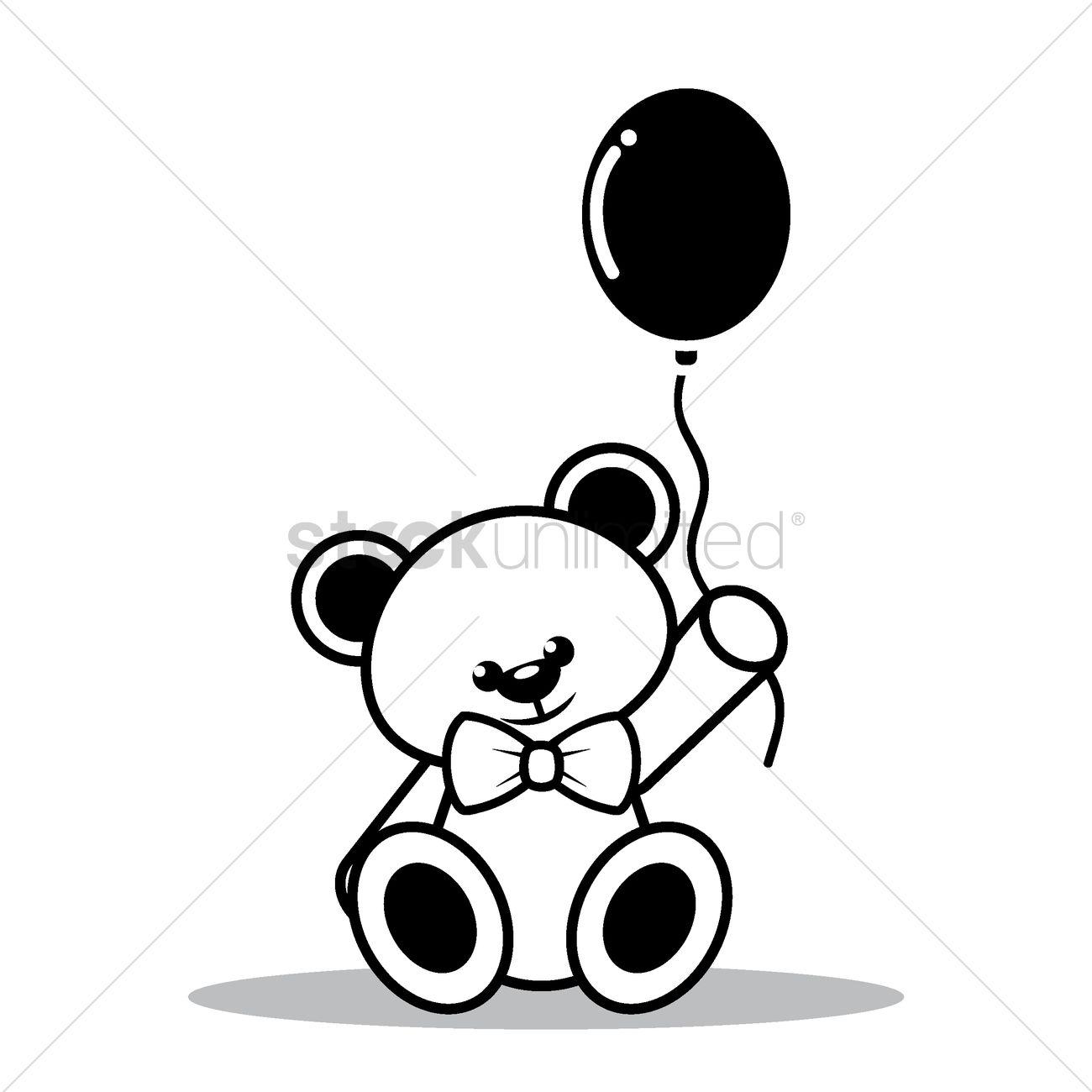 Teddy Bear With Balloon Vector Image