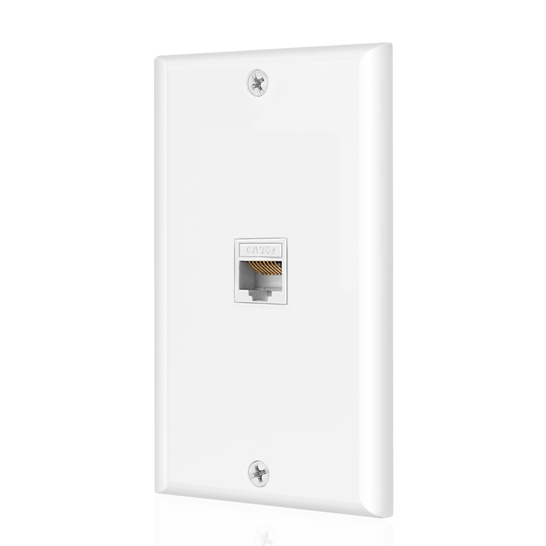 Ethernet Cat6 Wall Plate 1 Port Single Gang Plug W Low