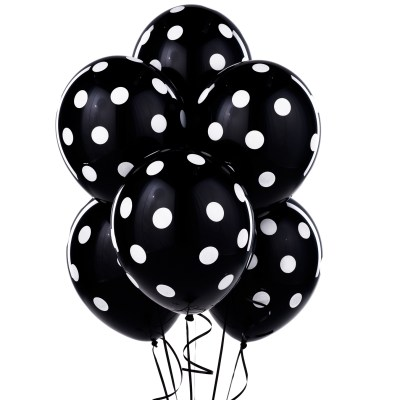Black+with+White+Polka+Dots+Latex+Balloons