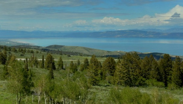 Looking down on Br Lake from the Bear Lake Overlook.
