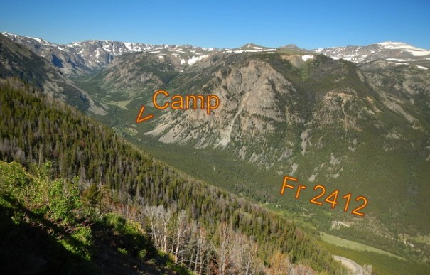 Looking down at the camp from the Beartooth Highway