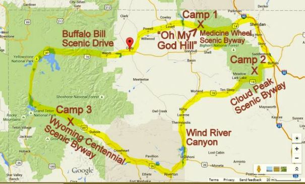 "This is a map of my travels through Central Wyoming. From Cody Wyoming to the ""Oh My God Hill"", to Camp one in in the Bighorn NF, to Camp two in the Bighorn NF; to the Wind River Canyon and up to my camp in the Shoshone NF in the Wind River Valley."
