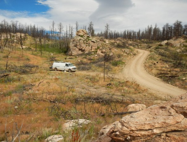 Our camp on the Medicine Bow-Routt National Forest.