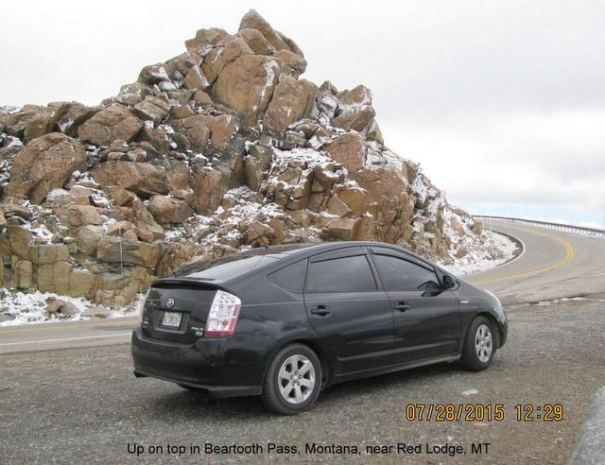 The Prius on the Beartooth Scenic Byway.