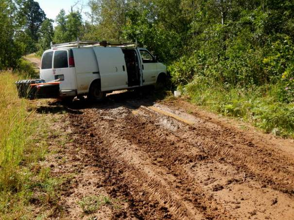 Stuck in the mud in the Black Hills near Spearfish, SD!