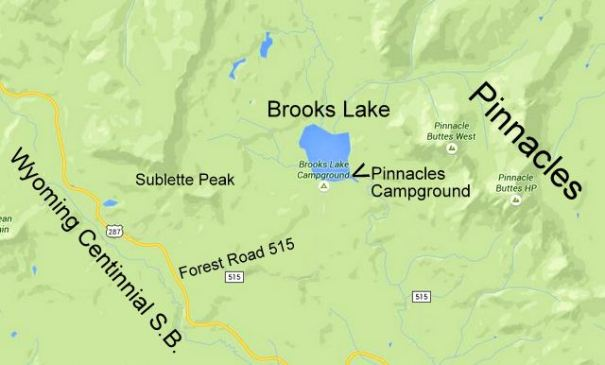 In this map you can see the relief of the mountains bith to the east and west of Brooks Lake. That's what makes it so beautiful. To get to Brooks Lake, you take the clearly marked FR 515, the Brooks Lake Road.