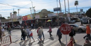 This is a busy street corner in Algodones. It literally is one block from the birder crossing!