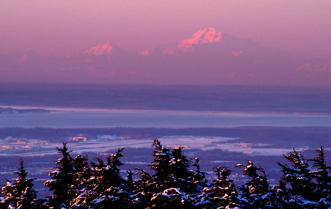 I took this picture of Mt. Mckinley from Glenn Alps. That's Anchorage in the Foreground.