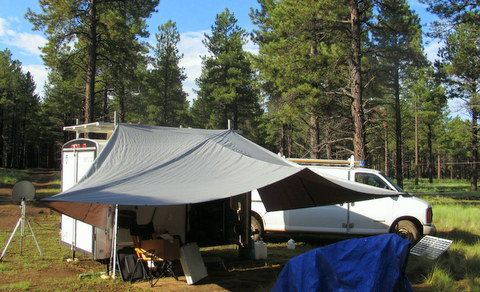My camp during one of the rare breaks in the rain! I really loved that awning!