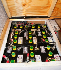 This is another friends battery bank. He has eight  6 volt golf cart batteries and 500 watts. He lives just like he was in a house!