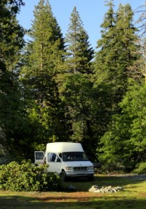 Cheri's van in a gorgeous camp n the Sierra NF.