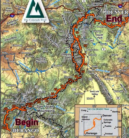 A detailed map of the Colorado Trail.