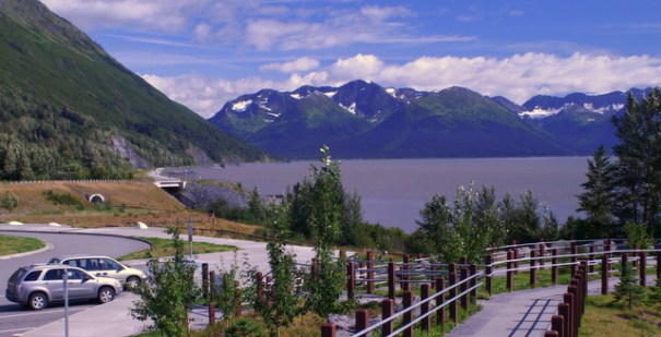 The State has done a great job of putting in pull-outs to give you superb views of the Arm. this one is at Beluga Point, named after the whales that make Cook Inlet their home. The tides in, in  this photo form 2006.