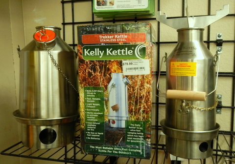 Here are the two sizes of the Kelly Kettle at a survival store here in Cottonwood, AZ. The smaller one is $80 here.