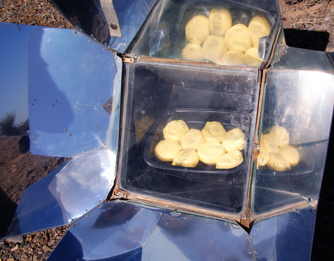 My solar oven making biscuits.