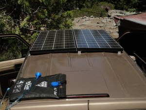 This is a friends solar setup. He has two 140 watt panels and he never lacks for power!
