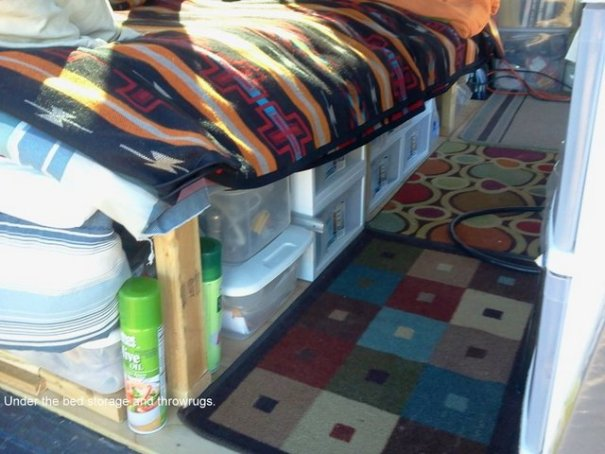 But, with a small space comes the necessity of of using every square inch. Hee you can see the plastic drawers under his bed which gives him both great organization and easy access .