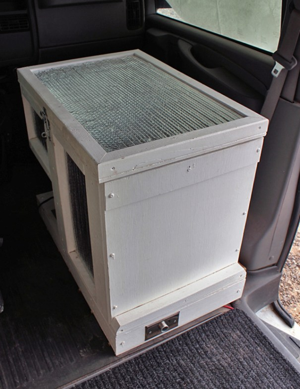 The insulated fridge box, that sits where the passenger seat used to be.