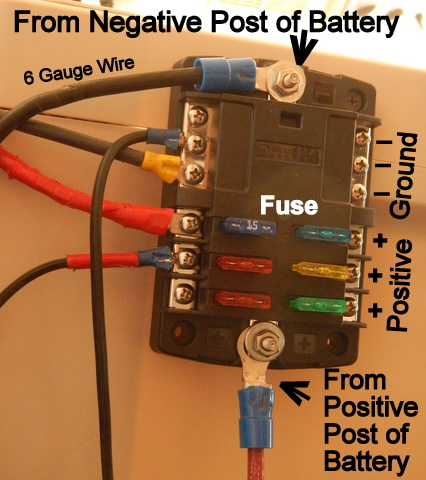 step 3: connect the red wire to the positive post of the battery and to the  positive post of the fuse block and the black wire from the negative post  of the
