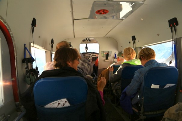 The cabin of the plane, We were all very relaxed and happy on the flight home!